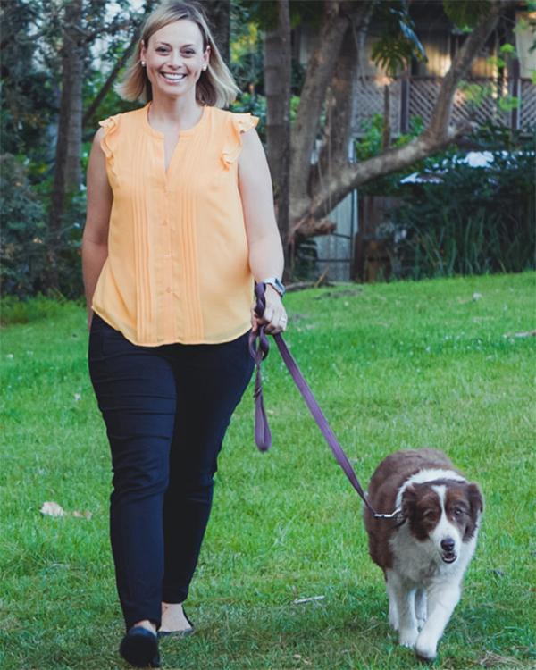 veterinarian walking dog